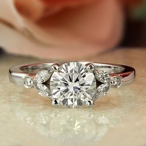 PRIMROSE Diamond Engagement Ring In 14K White Gold With 0.50ct. Round Diamond