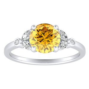 PRIMROSE  Yellow  Diamond  Engagement  Ring  In  14K  White  Gold  With  0.50  Carat  Round  Diamond