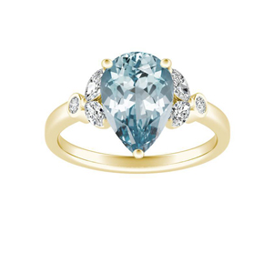 PRIMROSE  Aquamarine  Engagement  Ring  In  14K  Yellow  Gold  With  1.00  Carat  Pear  Stone