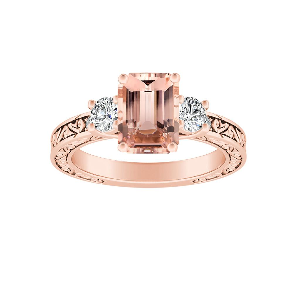ELEANOR Three Stone Morganite Engagement Ring In 14K Rose Gold With 1.00 Carat Emerald Stone