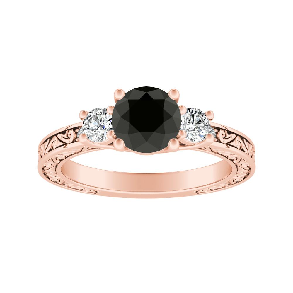 ELEANOR Three Stone Black Diamond Engagement Ring In 14K Rose Gold With 1.00 Carat Round Diamond