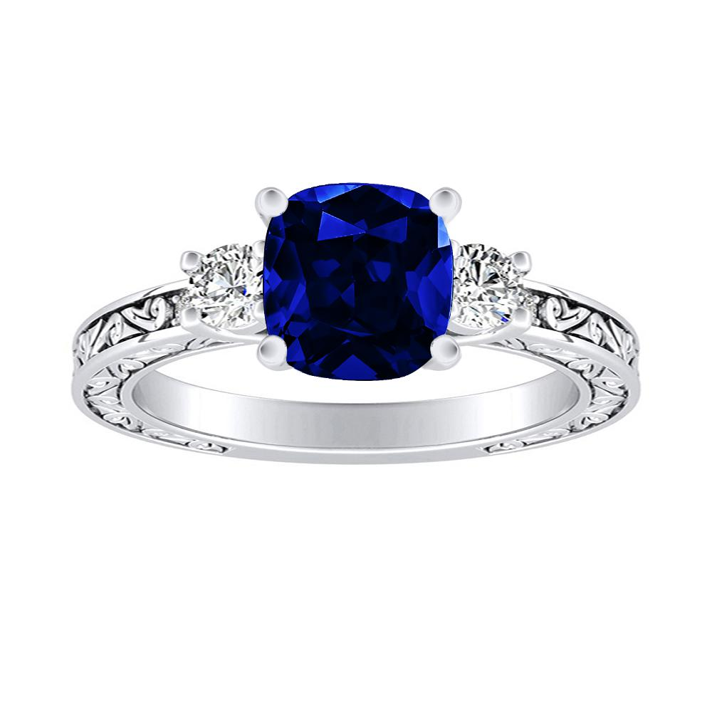 ELEANOR Three Stone Blue Sapphire Engagement Ring In 14K White Gold With 0.50 Carat Cushion Stone