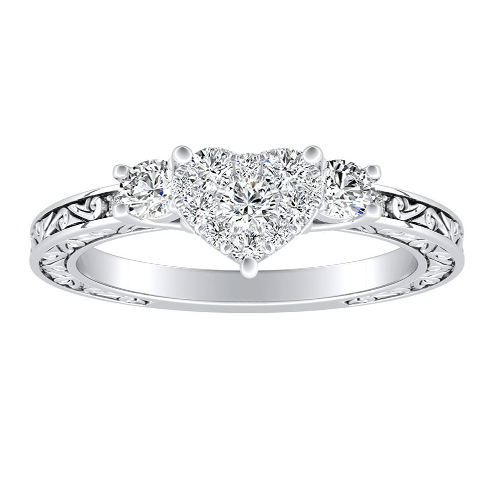 ELEANOR Diamond Engagement Ring In 14K White Gold With Heart Diamond In H-I SI1-SI2 Quality