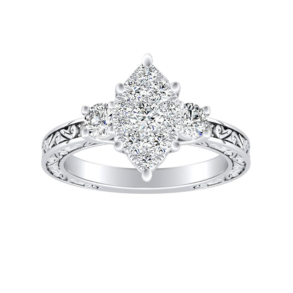 ELEANOR Diamond Engagement Ring In 14K White Gold With Marquise Diamond In H-I SI1-SI2 Quality
