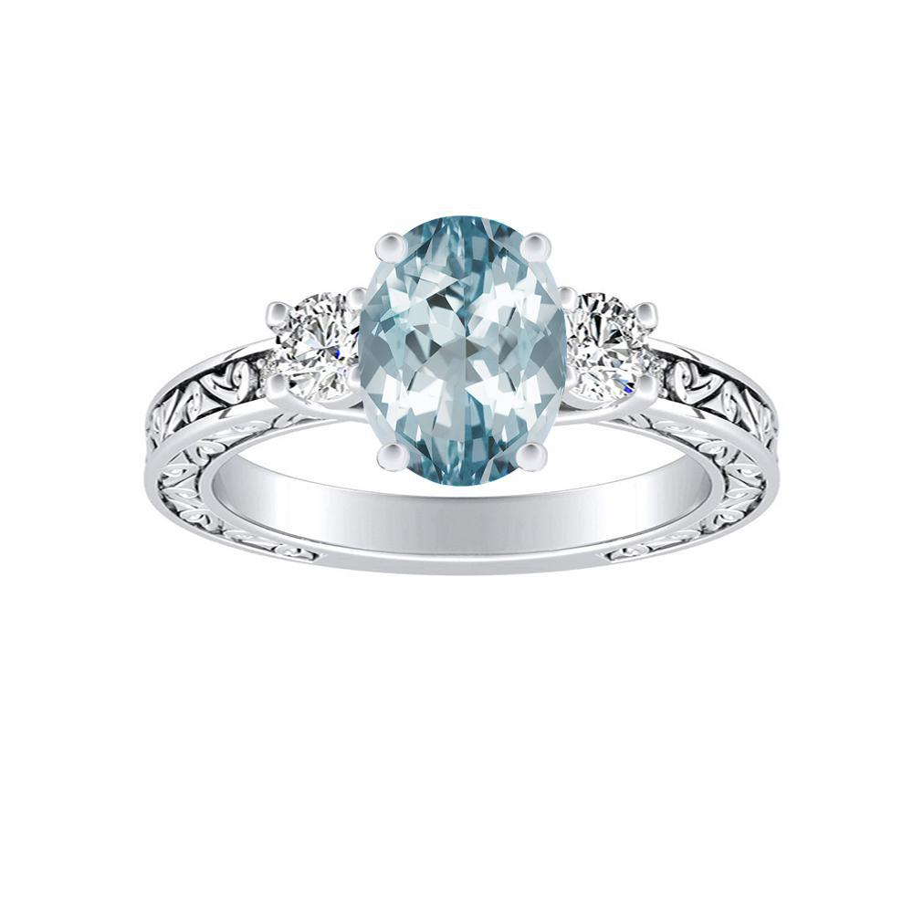 ELEANOR Three Stone Aquamarine Engagement Ring In 14K White Gold With 3.00 Carat Oval Stone