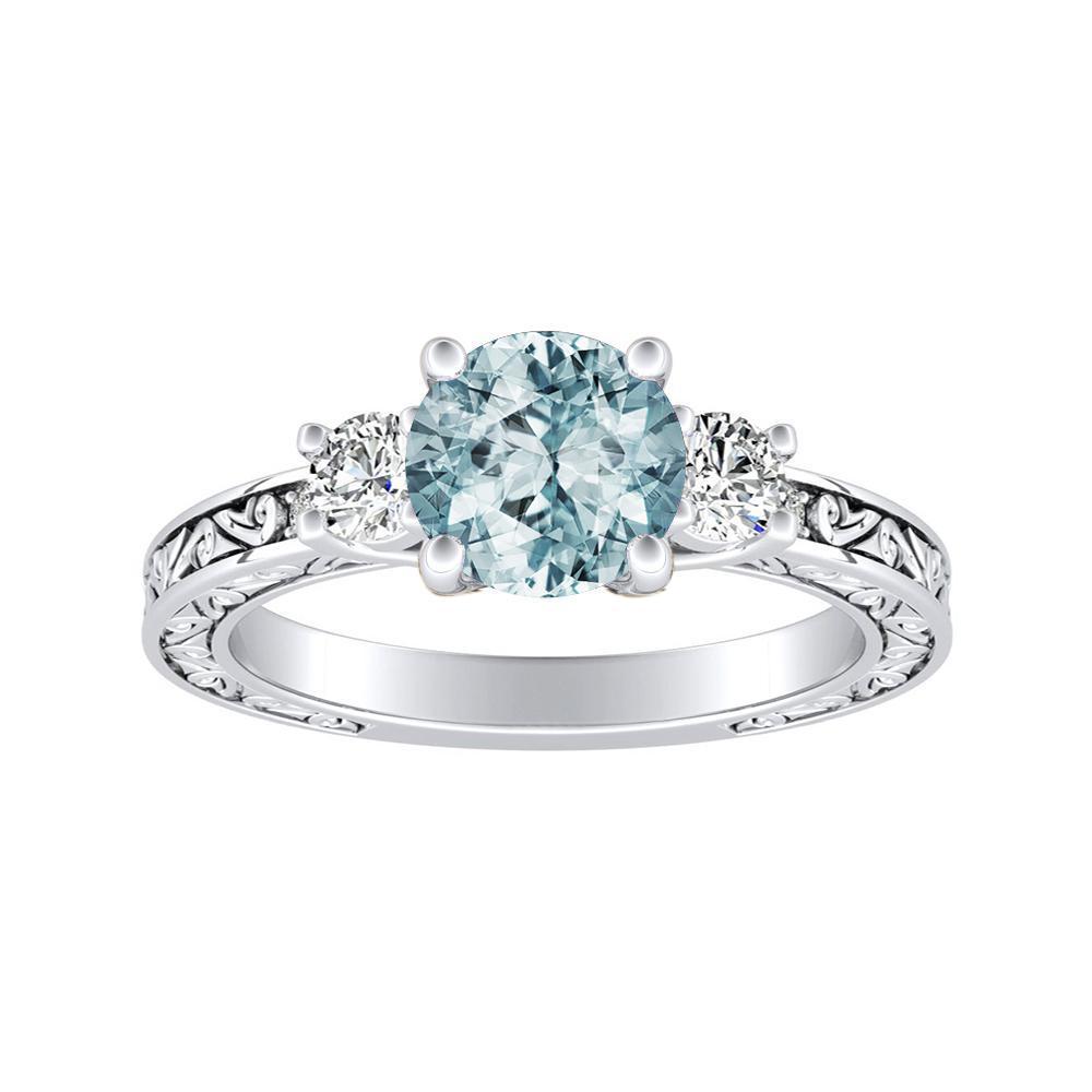 ELEANOR Three Stone Aquamarine Engagement Ring In 14K White Gold With 1.00 Carat Round Stone