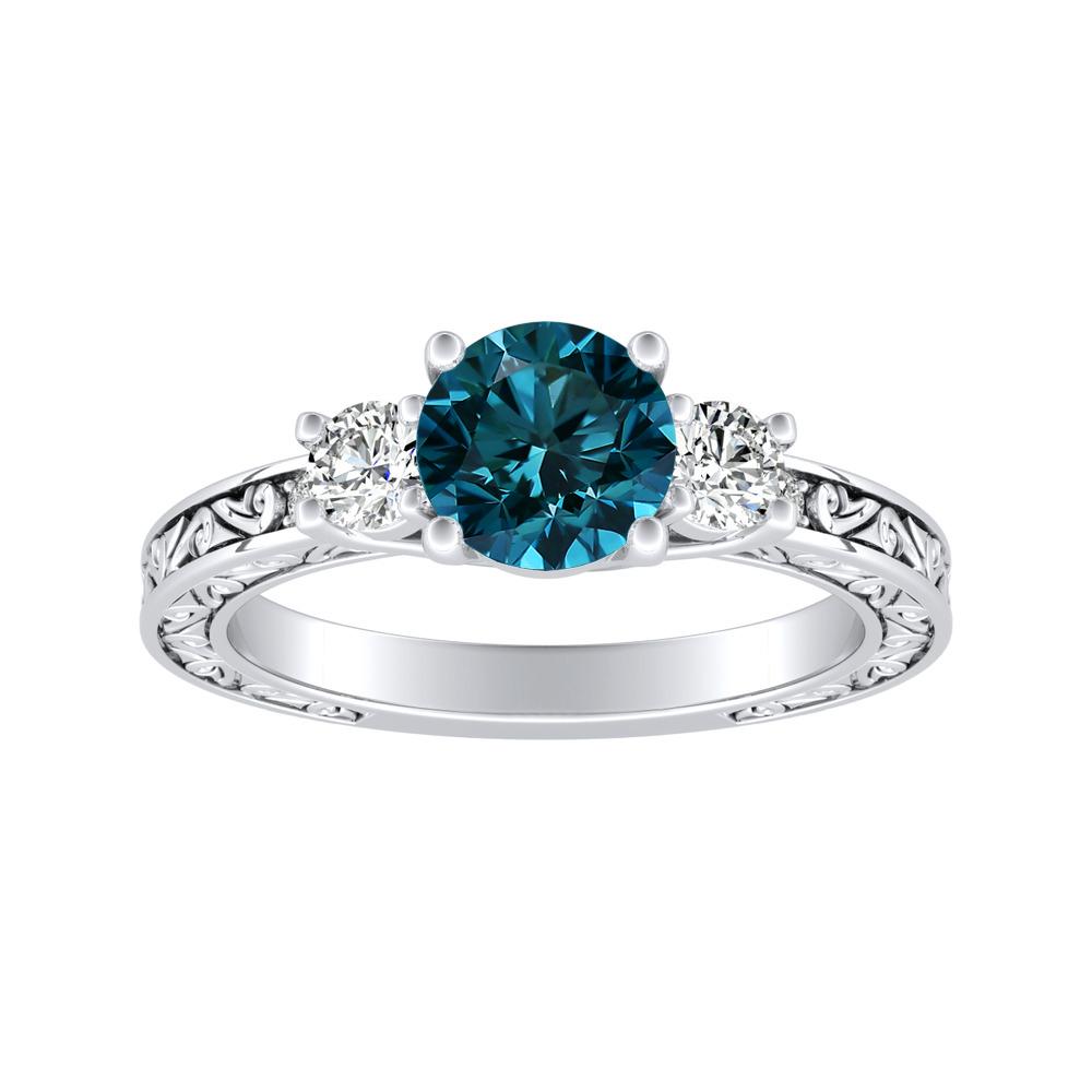 ELEANOR Three Stone Blue Diamond Engagement Ring In 14K White Gold With 0.50 Carat Round Diamond
