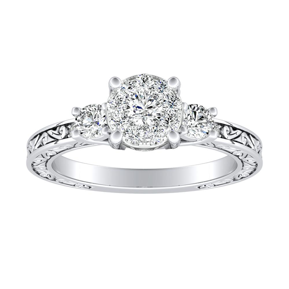ELEANOR Diamond Engagement Ring In 14K White Gold With Round Diamond In H-I SI1-SI2 Quality