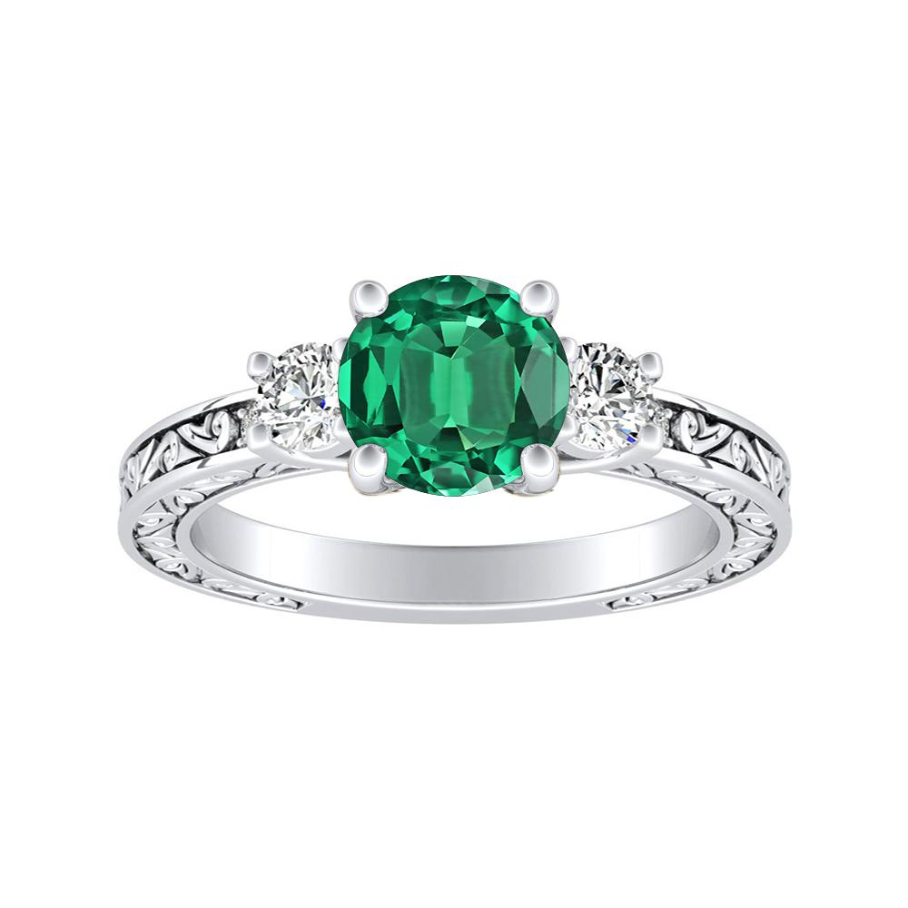 ELEANOR Three Stone Green Emerald Engagement Ring In 14K White Gold With 0.50 Carat Round Stone