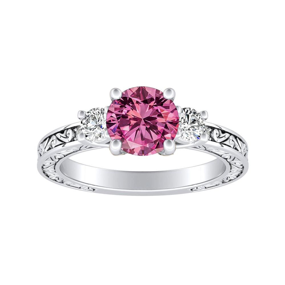 ELEANOR Three Stone Pink Sapphire Engagement Ring In 14K White Gold With 0.50 Carat Round Stone