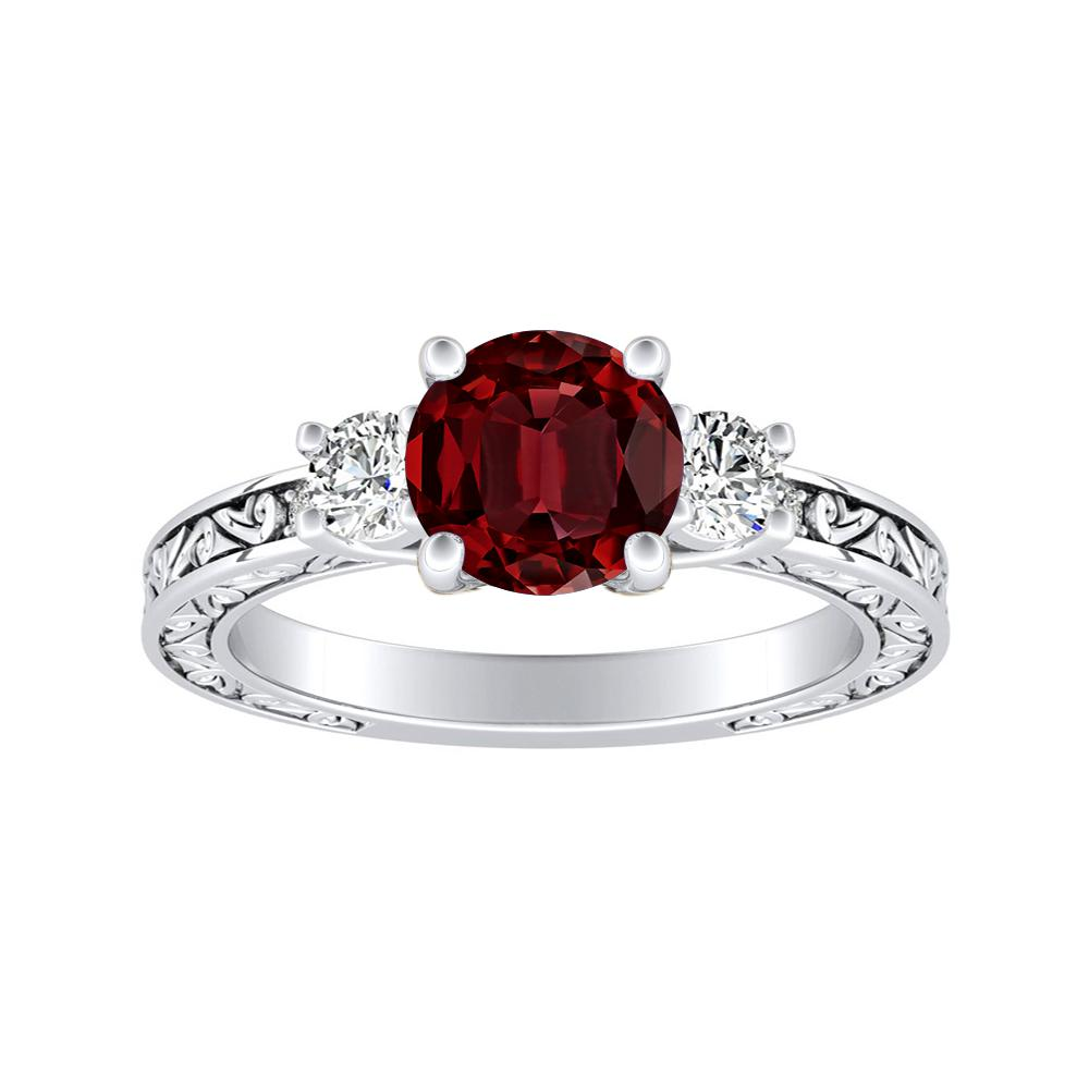 ELEANOR Three Stone Ruby Engagement Ring In 14K White Gold With 0.50 Carat Round Stone