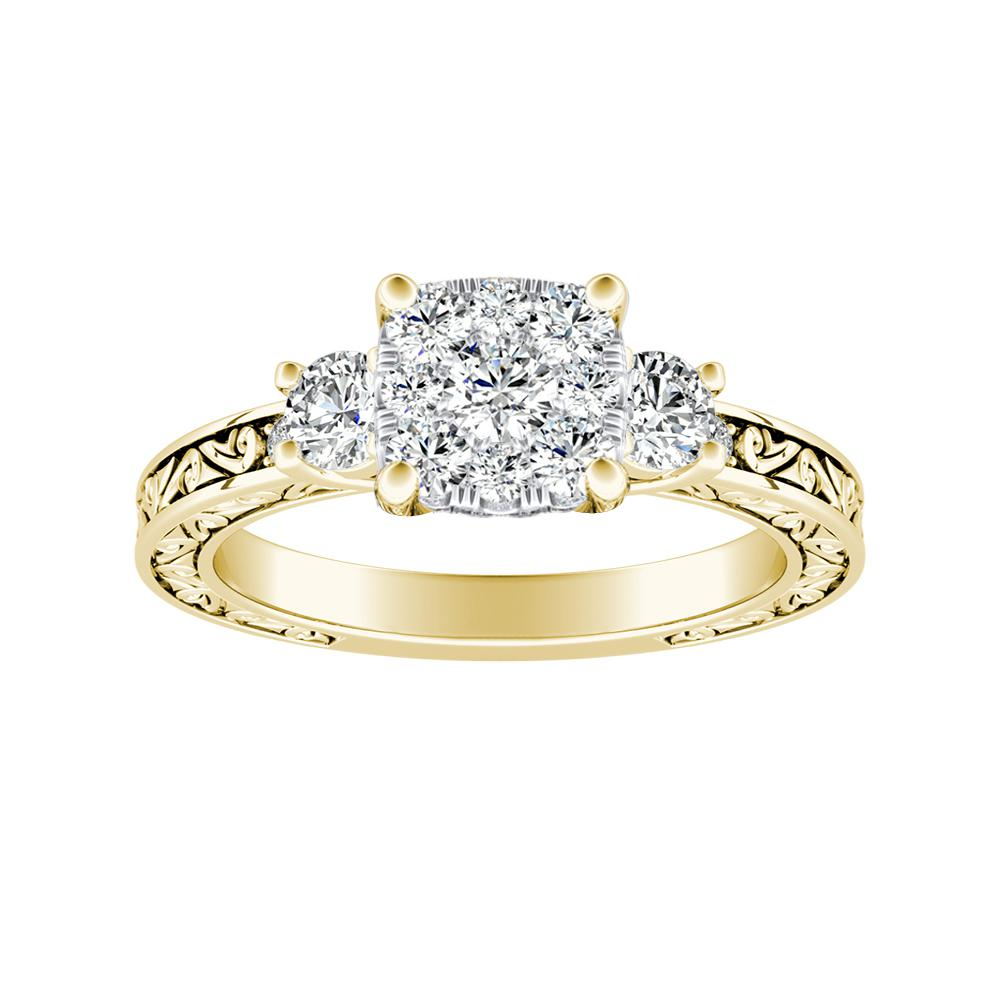 ELEANOR Diamond Engagement Ring In 14K Yellow Gold With Cushion Diamond In H-I SI1-SI2 Quality