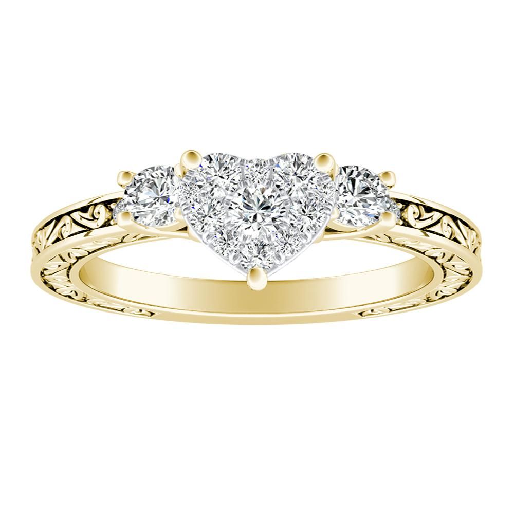 ELEANOR Diamond Engagement Ring In 14K Yellow Gold With Heart Diamond In H-I SI1-SI2 Quality