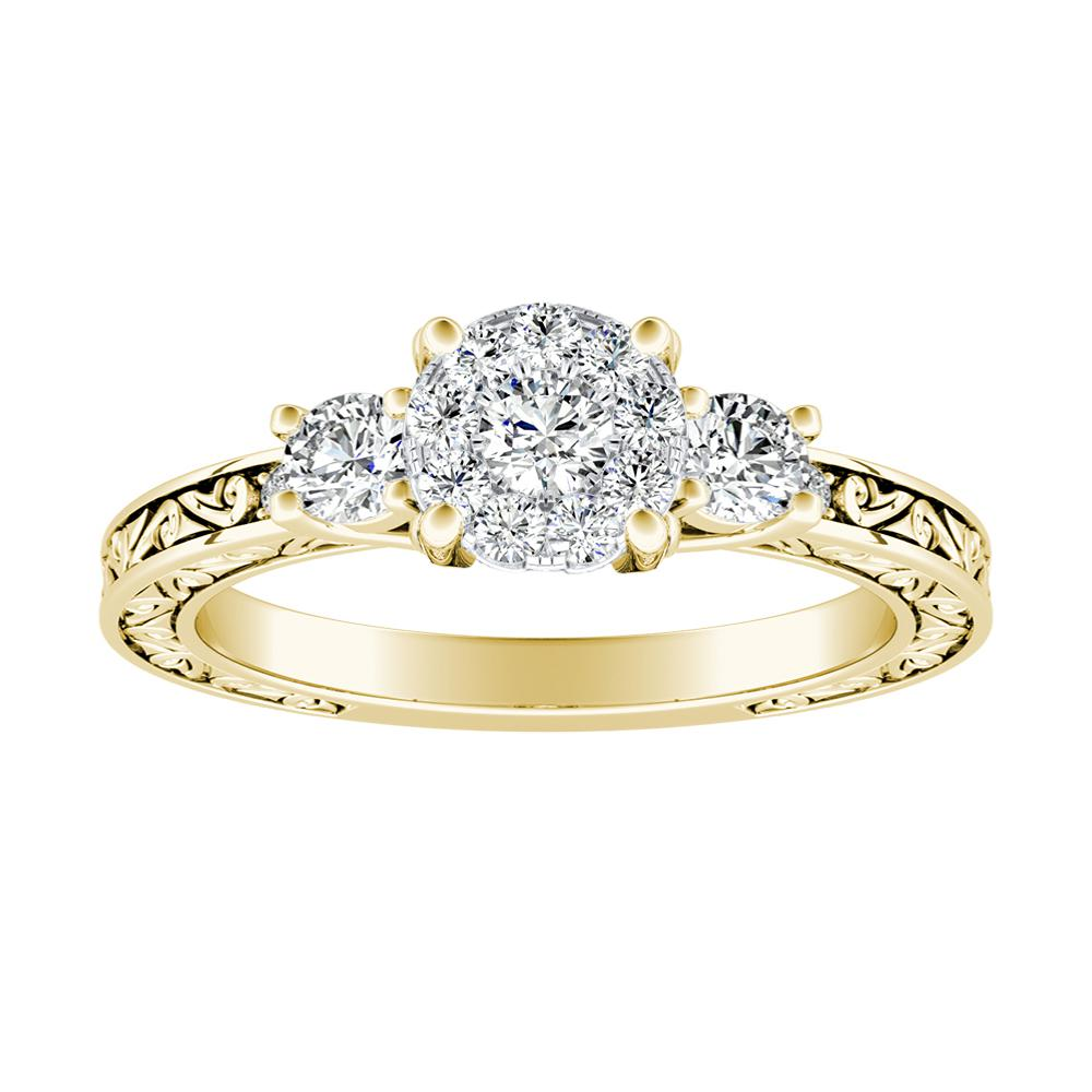 ELEANOR Diamond Engagement Ring In 14K Yellow Gold With Round Diamond In H-I SI1-SI2 Quality