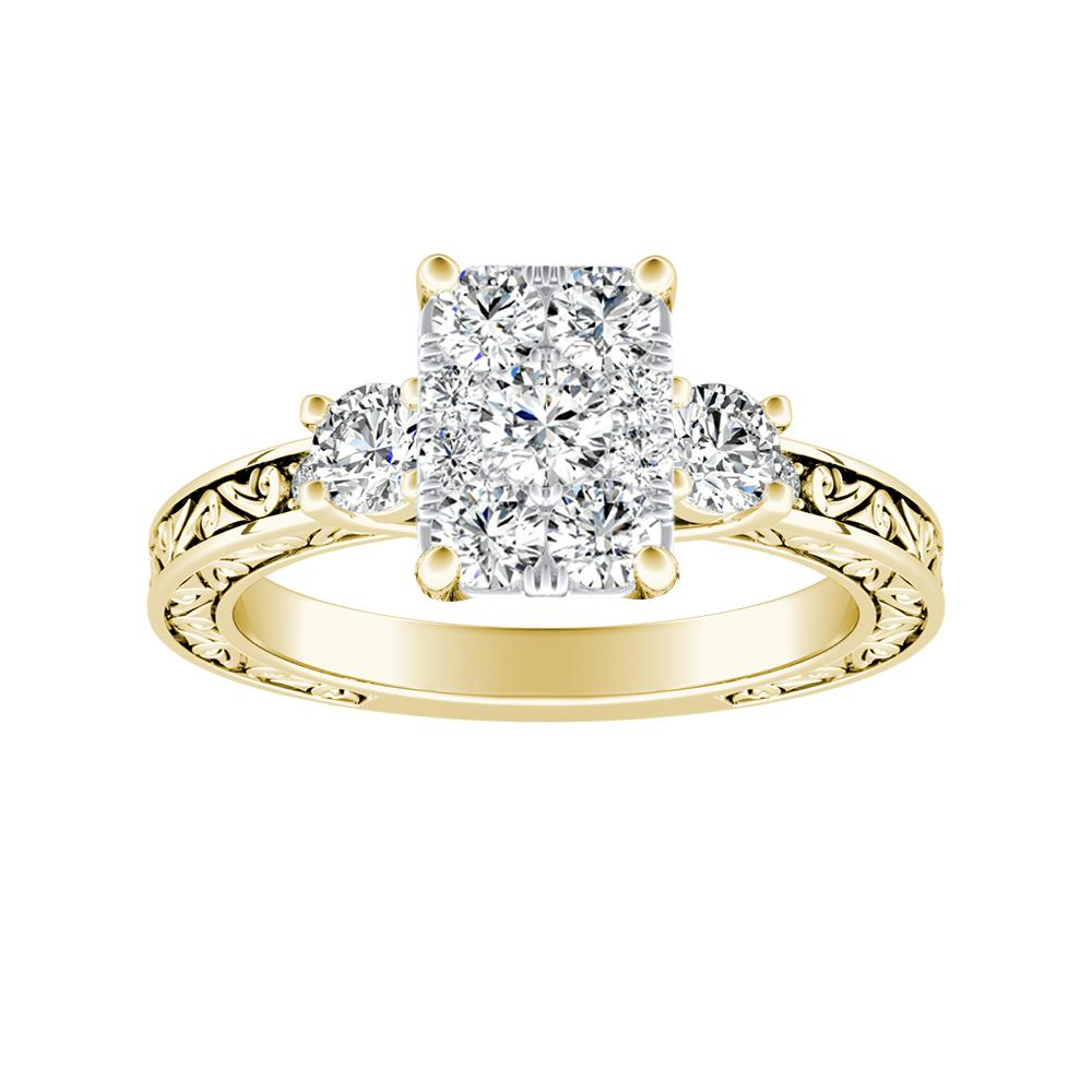 ELEANOR Diamond Engagement Ring In 14K Yellow Gold With Radiant Diamond In H-I SI1-SI2 Quality