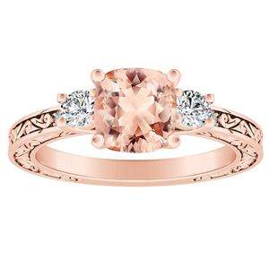 ELEANOR Three Stone Morganite Engagement Ring In 14K Rose Gold With 1.00 Carat Cushion Stone