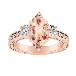 ELEANOR Three Stone Morganite Engagement Ring In 14K Rose Gold With 2.00 Carat Marquise Stone