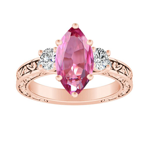ELEANOR  Three  Stone  Pink  Sapphire  Engagement  Ring  In  14K  Rose  Gold  With  0.50  Carat  Marquise  Stone