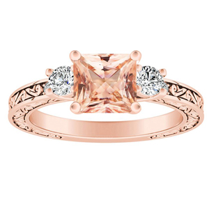 ELEANOR Three Stone Morganite Engagement Ring In 14K Rose Gold With 1.00 Carat Princess Stone