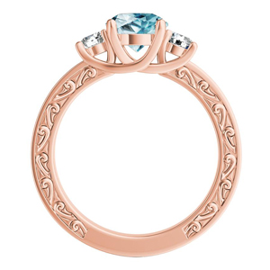 ELEANOR Three Stone Aquamarine Engagement Ring In 14K Rose Gold With 2.00 Carat Round Stone