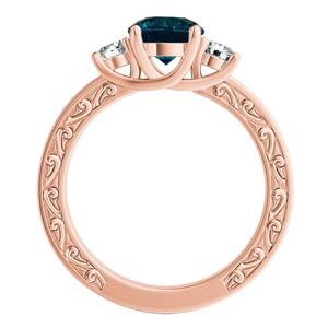 ELEANOR  Three  Stone  Blue  Diamond  Engagement  Ring  In  14K  Rose  Gold  With  0.50  Carat  Round  Diamond