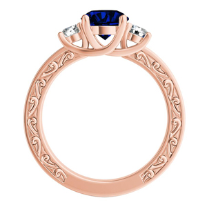 ELEANOR Three Stone Blue Sapphire Engagement Ring In 14K Rose Gold With 0.50 Carat Cushion Stone
