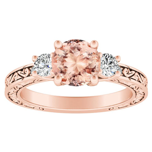 ELEANOR Three Stone Morganite Engagement Ring In 14K Rose Gold With 1.00 Carat Round Stone