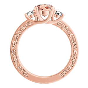 ELEANOR Three Stone Morganite Engagement Ring In 14K Rose Gold With 2.00 Carat Round Stone