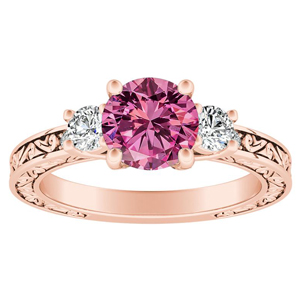 ELEANOR Three Stone Pink Sapphire Engagement Ring In 14K Rose Gold With 0.50 Carat Round Stone