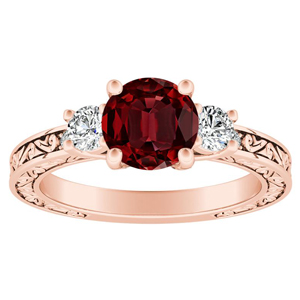 ELEANOR Three Stone Ruby Engagement Ring In 14K Rose Gold With 0.50 Carat Round Stone