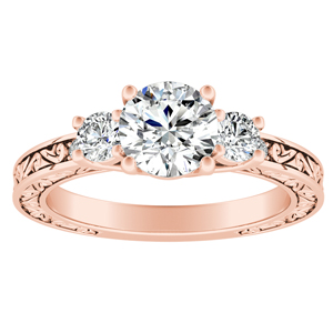 ELEANOR Three Stone Diamond Engagement Ring In 14K Rose Gold