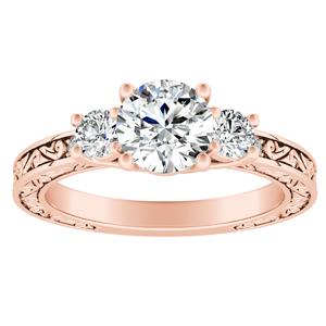 ELEANOR Three Stone Diamond Engagement Ring In 14K Rose Gold