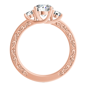 ELEANOR  Three  Stone  Moissanite  Engagement  Ring  In  14K  Rose  Gold  With  0.50  Carat  Round  Stone