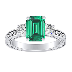 ELEANOR  Three  Stone  Green  Emerald  Engagement  Ring  In  14K  White  Gold  With  0.50  Carat  Emerald  Stone