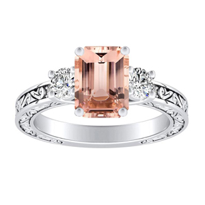 ELEANOR Three Stone Morganite Engagement Ring In 14K White Gold With 1.00 Carat Emerald Stone