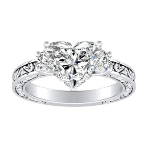 ELEANOR Three Stone Diamond Engagement Ring In 14K White Gold