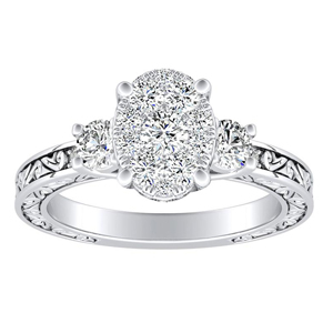 ELEANOR Diamond Engagement Ring In 14K White Gold With Oval Diamond In H-I SI1-SI2 Quality