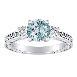 ELEANOR  Three  Stone  Aquamarine  Engagement  Ring  In  14K  White  Gold  With  1.00  Carat  Round  Stone