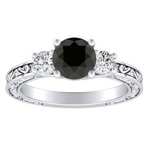 ELEANOR Three Stone Black Diamond Engagement Ring In 14K White Gold With 0.50 Carat Round Diamond