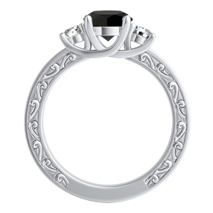 ELEANOR  Three  Stone  Black  Diamond  Engagement  Ring  In  14K  White  Gold  With  1.00  Carat  Round  Diamond