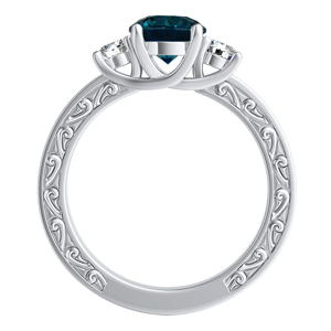 ELEANOR  Three  Stone  Blue  Diamond  Engagement  Ring  In  14K  White  Gold  With  0.50  Carat  Round  Diamond