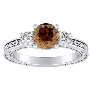 ELEANOR Three Stone Brown Diamond Engagement Ring In 14K White Gold With 0.30 Carat Round Diamond