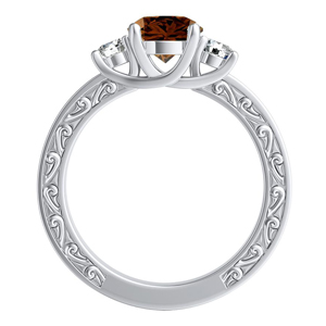 ELEANOR  Three  Stone  Brown  Diamond  Engagement  Ring  In  14K  White  Gold  With  0.50  Carat  Round  Diamond