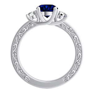 ELEANOR  Three  Stone  Blue  Sapphire  Engagement  Ring  In  14K  White  Gold  With  0.50  Carat  Round  Stone