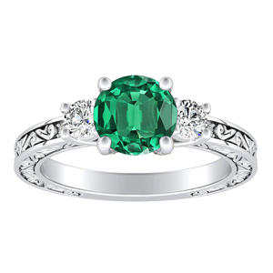 ELEANOR Three Stone Green Emerald Engagement Ring In 14K White Gold With 0.30 Carat Round Stone