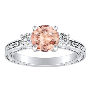 ELEANOR Three Stone Morganite Engagement Ring In 14K White Gold With 1.00 Carat Round Stone