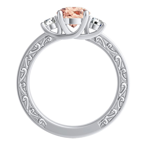 ELEANOR Three Stone Morganite Engagement Ring In 14K White Gold With 2.00 Carat Round Stone