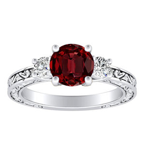 ELEANOR Three Stone Ruby Engagement Ring In 14K White Gold With 0.30 Carat Round Stone