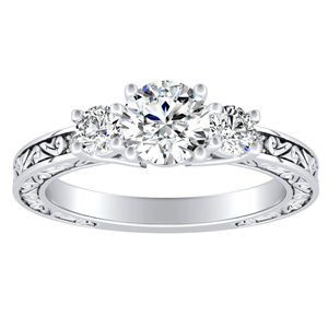 ELEANOR Three Stone Moissanite Engagement Ring In 14K White Gold With 0.50 Carat Round Stone