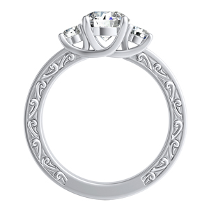 ELEANOR Three Stone Diamond Wedding Ring Set In 14K White Gold With 0.50ct. Round Diamond
